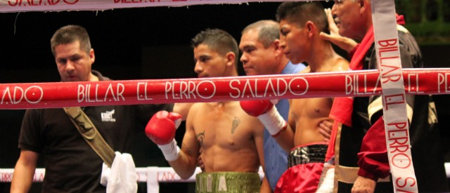 Prior to their Super Bantamweight State Title fight, Edivaldo Ortega (R) and Francisco Pina (C) posed for a photo in the center of the ring. Photo: Jim Wyatt