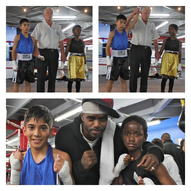 In Bout #15, it was Juan Saldivar gaining the victory over Darius Winfrey (R). Former boxer, now coach, Priest Tiger Smalls poses for a photo with the youngsters.
