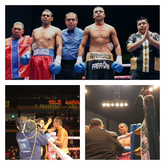 Collage of photos taken at the Ramses Agaton versus Guillermo Garcia fight on Wednesday, December 19, 2012 at Las Pulgas.