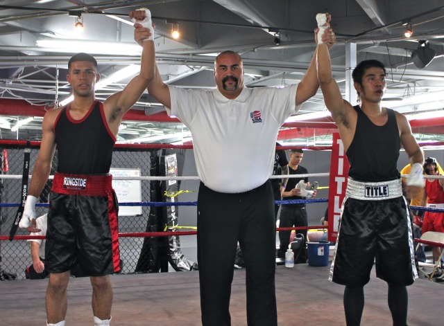 In Bout #4, it was Miguel Sanchez (L) of United Boxing & Fitness getting the win over Dextor Escobar of the Temecula Boxing Club in Temecula, CA.