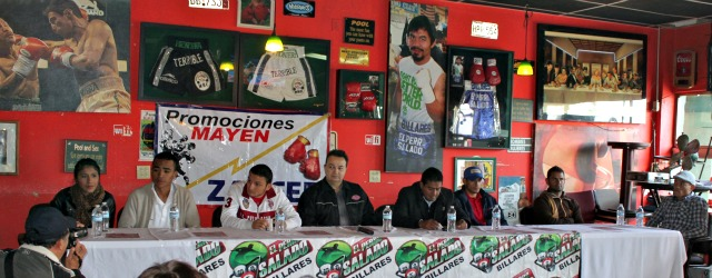 Present at today's press conference and sitting at the head table were (L to R) boxers, Kenia Enriquez, Ramses Agaton, Betillo Gutierrez, commissioners from the Boxing Commission, boxers Jose Luis Vazquez, Guillermo Garcia, and Bolivita Uzcategui.