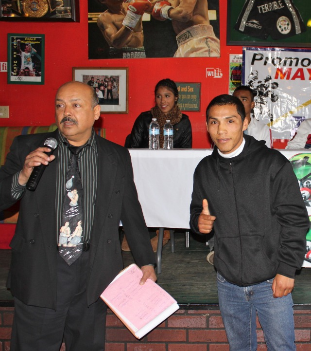 Promoter Guillermo Mayen introduces Jose Pech (0-2) of Tijuana who is coming off a unanimous decision loss to Heriberto Delgado on July 19, 2012 at Las Pulgas.