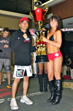 "At the close of the evening Benny Borjon received the trophy for ""Fight of the Night."""