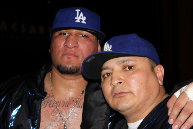 This photo of Chris Arreola (L) with his trainer Henry Ramirez was taken on December 5, 2009 at the Boardwalk Hall in Atlantic City, New Jersey.