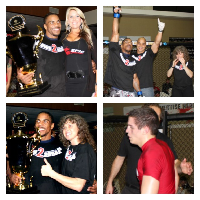 To the victor goes the spoils. Matthew Spencer celebrates his win over Benjamin Fanjoy in Bout #14 for the 170 pound title. Fanjoy, lower panel right, walks away dejected after becoming the victim of an Armbar Submission hold, while Spencer is congratulated by his support group and the show's matchmaker extraordinaire Heather Hyatt (top left).