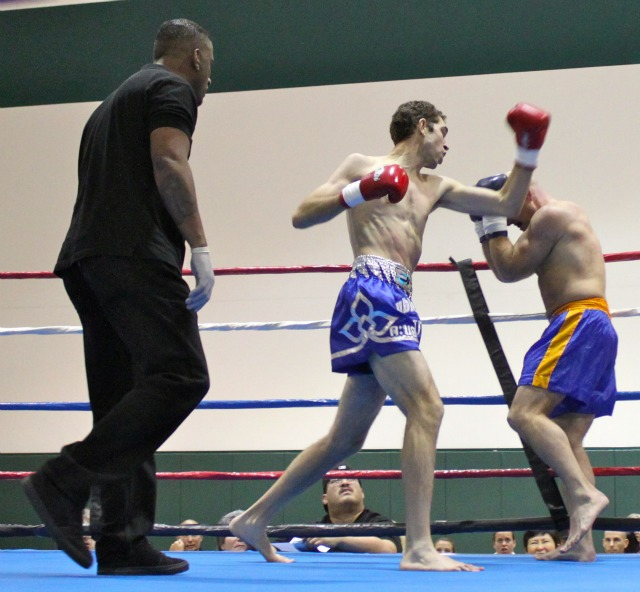 Jose Muhr (C) was quite impressive on Saturday night in his defeat of Shane Sapp in Bout #5 at the Pala Recreation Center in Pala, CA.