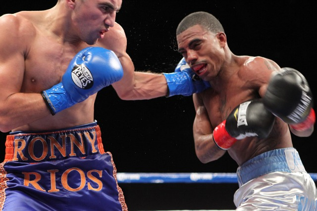 On Friday, January 12, 2013, Rico Ramos fought Ronny Rios for the NABF Championship. In this hard fought battle, Rico Ramos (R) gets caught by a hard left hook from Ronny Rios.