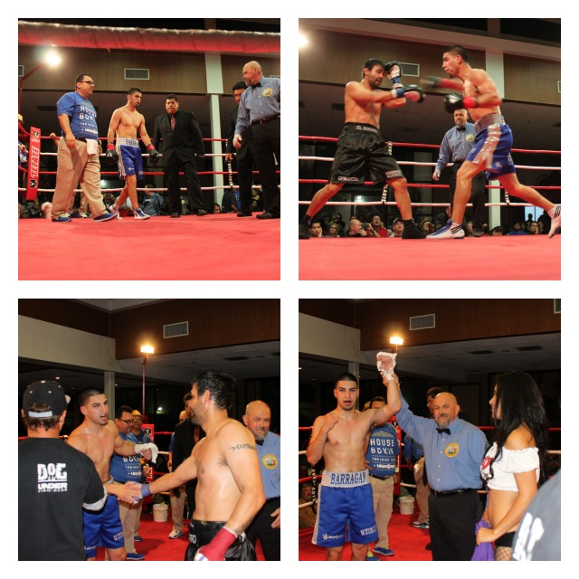 David Barragan has his arm raised in victory after soundly defeating Jose Martell at the four Points By Sheraton Hotel on Thursday, February 21, 2013.