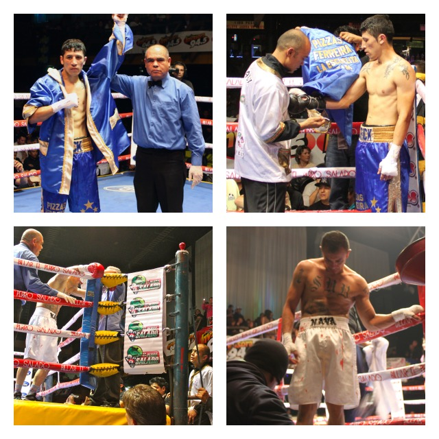 Erick Martinez (top) gets the second round TKO victory over Miguel Angel Garcia