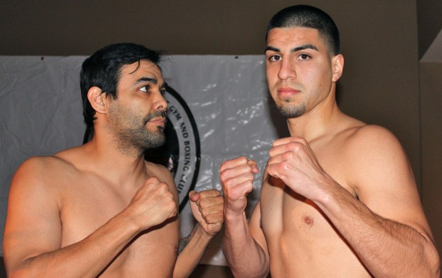(l to r) Jose Martell (2-5-0, 1 KO) versus David Barragan (3-0-1, 2 KOs)