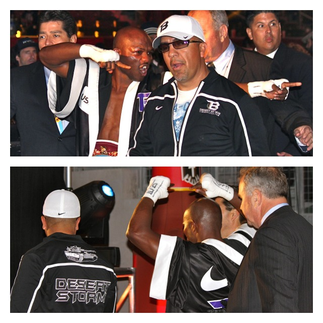Timothy Bradley walks through the crowd after leaving the ring. Photos: Jim Wyatt