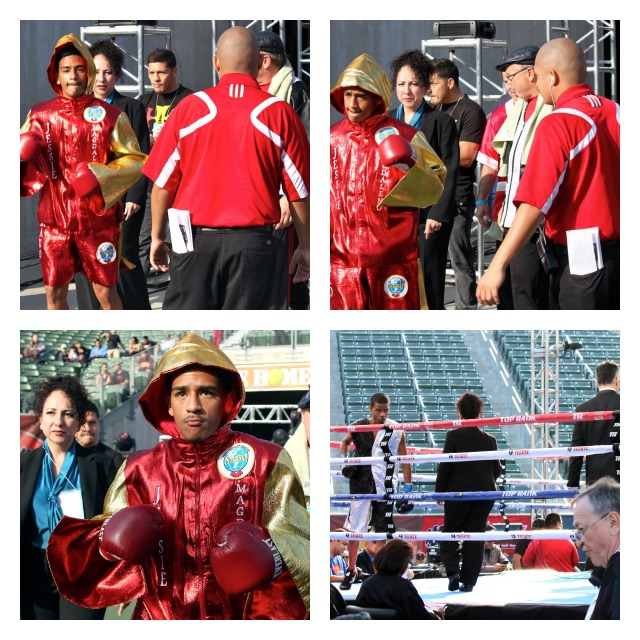 Jesse Magdaleno makes his ring entrance to face Carlos Fulgencio in Bout #2, Saturday, late afternoon inside the Home Depot Tennis Stadium.
