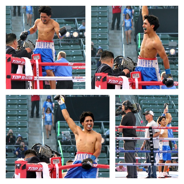 The youngster, Victor Sanchez  celebrates not only the big win but his first knockout.