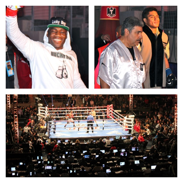 "The ring walk of the two combatants in Bout #7, Wale ""Lucky Boy"" Omotoso who originally hails from Lagos, Nigeria and his opponent Jessie Vargas from Las Vegas, Nevada."