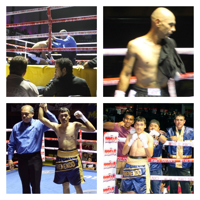 "On Wednesday evening at Salon Las Pulgas in Tijuana's downtown, Febrero 27, 2013, Heriberto ""Tremendo"" Delgado (bottom photos) gained a knock victory over Jesus Ricardo."