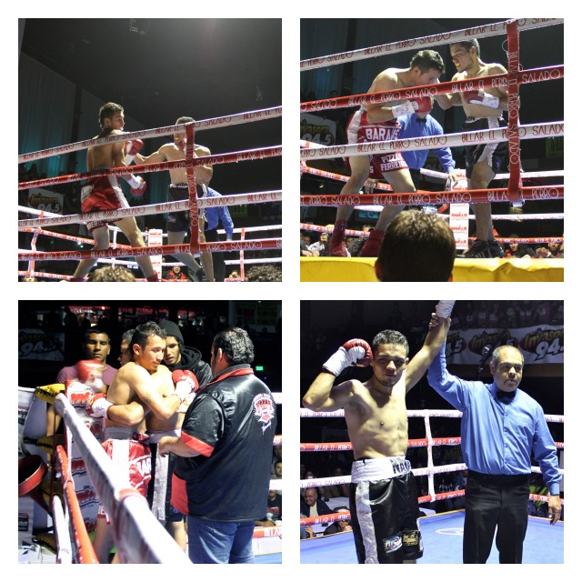 In the bottom right photo, Daniel Nava (L) has his arm raised in victory by referee Juan Jose Ramirez after he TKO victory over Jose Barajas.