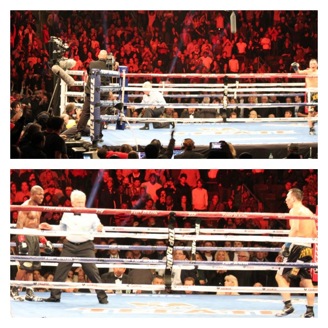 No time left - as the final 10 seconds ticked off the clock, we see Timothy Bradley wisely taking a knee and his opponent, Ruslan Provodnikov patiently waiting for have an opportunity to finish Bradley