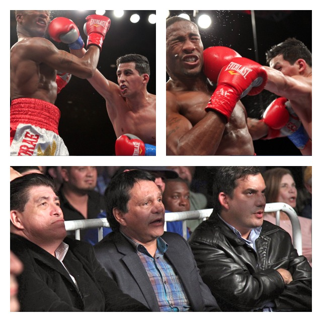 "Centeno giving A junior middleweight Hugo ""The Boss"" Centeno Jr. giving KeAndrae Leatherwood"