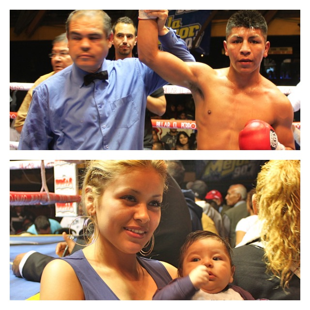 """Super Bantamweight Edivaldo """"El Indio"""" Ortega (r) has his arm raised in victory by referee Juan Jose Ramirez after defeating Guadalupe Tapia, Wednesday evening at Salon Las Pulgas in downtown Tijuana. Below we have a photo of the champ's wife Mariana and son Iker Daichi who attended the latest show at Las Pulgas on Wednesday evening, March 13, 2013."""