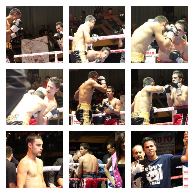 In the bottom right panel we see Jesus Valadez having his arm raised in victory after defeating Antonio Arellano by an unanimous decision.