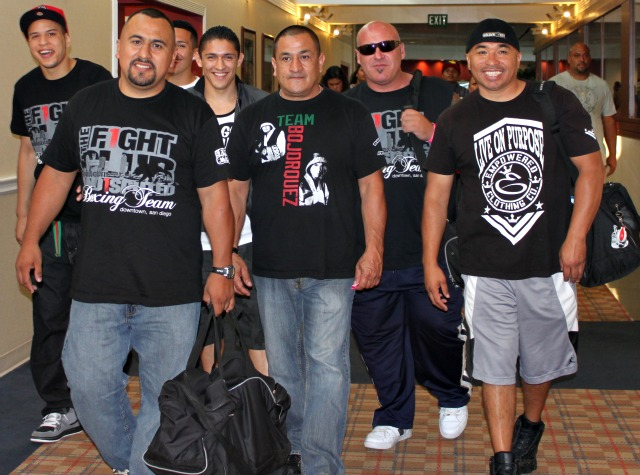 As a trainer, you work some long hours. Here's a photo of Joe Vargas (front left) leading his band of renown down the hallway of the local Sheraton Hotel on fight night.