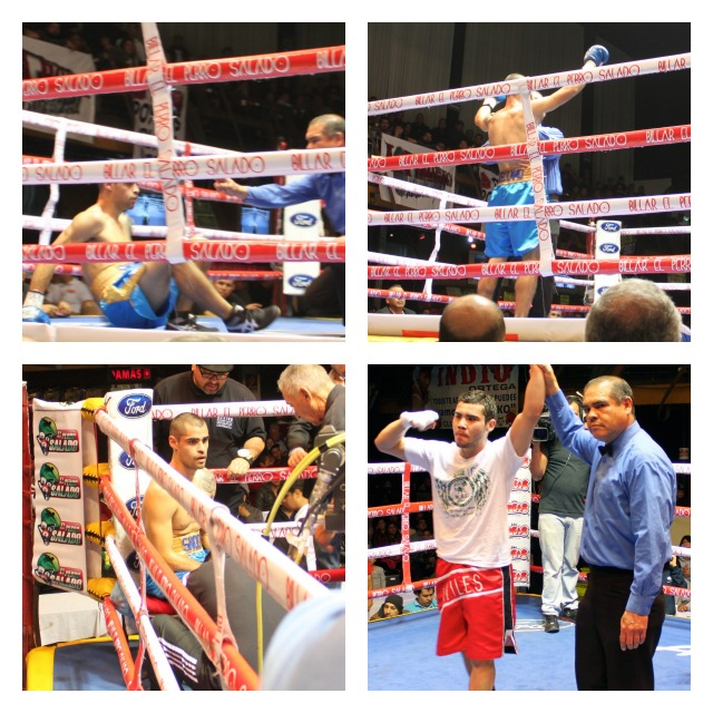 Bottom right photo shows Jose Ezequiel Avilez having his arm raised by referee Juan Jose Ramirez after he knocked Israel Arellano out in the second round of their four round super lightweight contest. All photos: Jim Wyatt