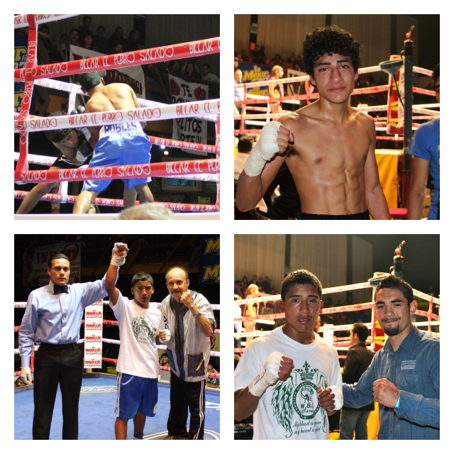 """In another entertaining bout, it was """"Sexy Boy"""" Robles (bottom photos) getting the decision victory over Marino Canete (top right)."""