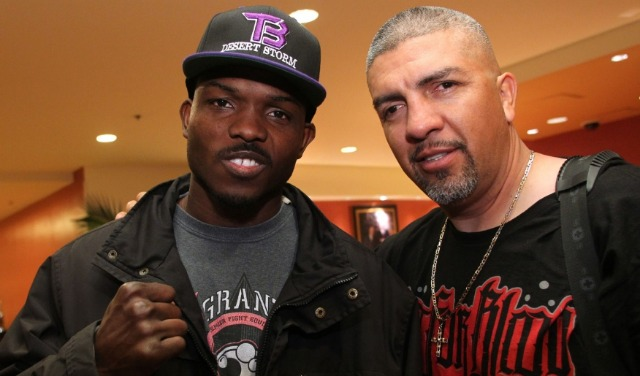Timothy Bradley is shown with his trainer and training staff.