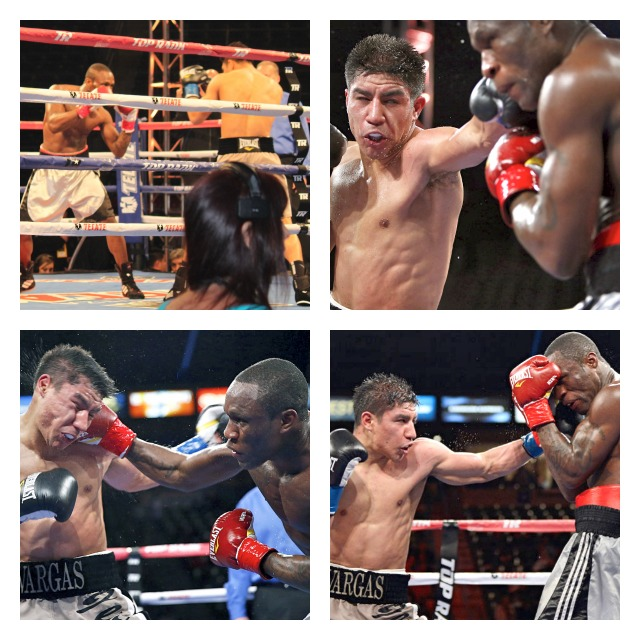 Outstanding photo collage provided by Chris Farina of Top Rank, Inc. shows three of the many fierce exchanges.