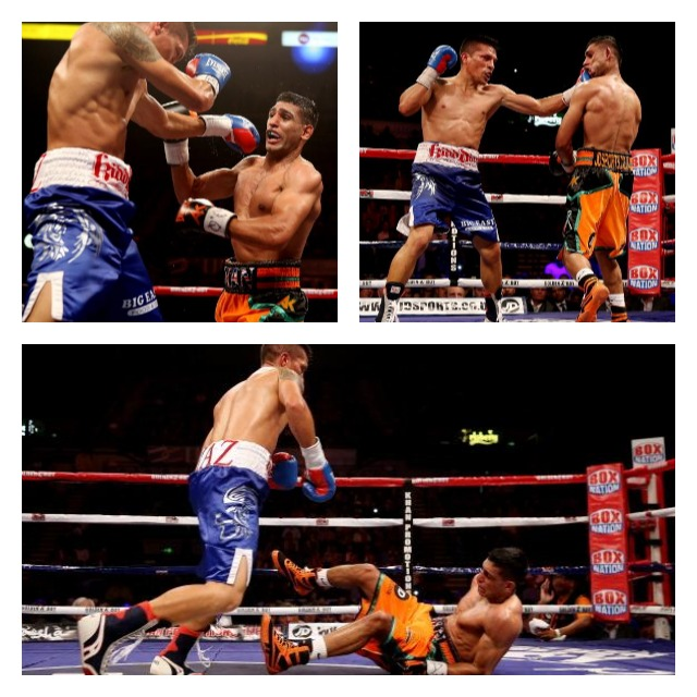 Here we see Julio Diaz loosening a couple of Amir Khan's teeth and then sending him to the canvas.