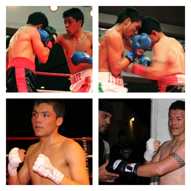 (bottom left photo) After defeating Pablo Batres in bout #1, Erick Ituarte poses for a photo. (bottom right) shows Pablo Batres having his gloves removed.