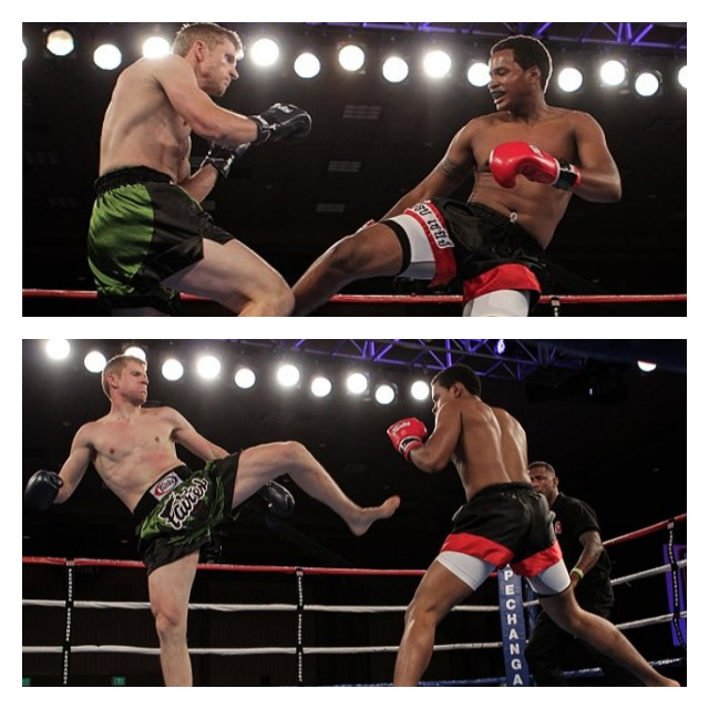 In Bout #2, after three hard fought rounds, Andrew Brown (r) won an unanimous decision victory over James Steelsmith. Photos: Ahren Nunag