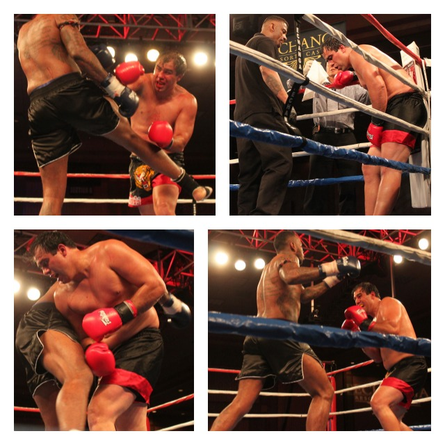 Fighting for the WCK Muaythai Heavyweight Championship were Virgil Zwicker  (right with red gloves) and Sergio Pique (left, blue gloves).  Photos: Jim Wyatt