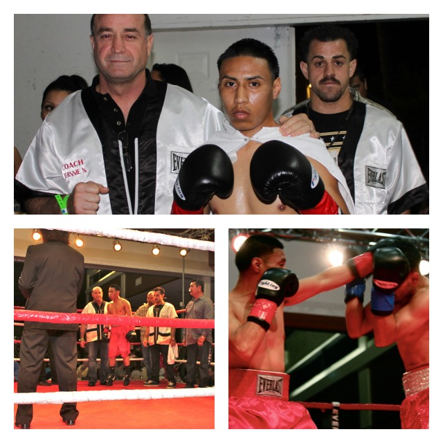(top photo) Johnny Boy Quiroz makes his way to the ring. (bottom right photo) Quiroz throws a jab at his opponent Javier Barragan.