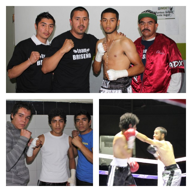 (top panel) shows Jesus Briseno with his support group before his bout with Marino Canete. (bottom left shows Canete with his support group. Third panel has Briseno throwing a stiff jab. All photos: Jim Wyatt