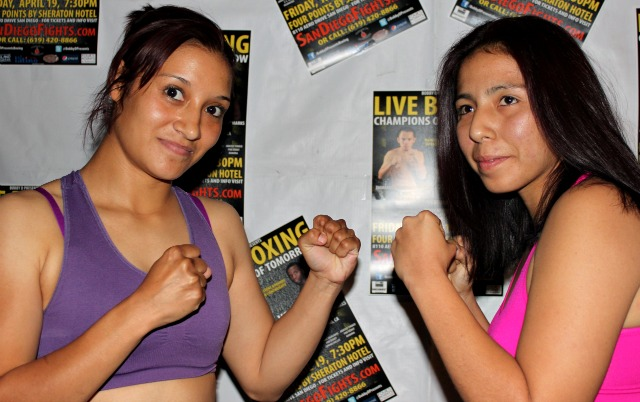 Bantamweights, Araceli Tinoco (R) and Guadalupe Gutierrez (L) pose for photos after their weigh-in on Thursday, April 18, 2013 at the Four Points by Sheraton Hotel in San Diego.