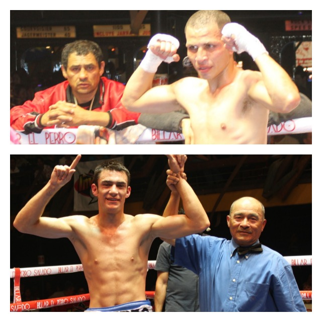(top) Julio Paz with his coach (below) Roberto Ramirez has his arm raised in victory by referee Juan Morales Lee Collage