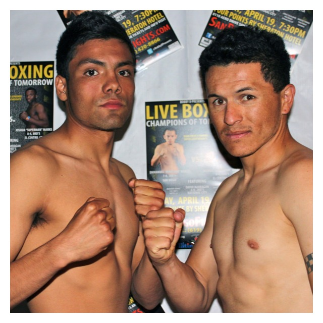 Featherweights, Pablo Batres (R) and Erick Ituarte (L) pose for photos after their weigh-ins on Thursday, April 18, 2013 at the Four Points by Sheraton Hotel in San Diego.