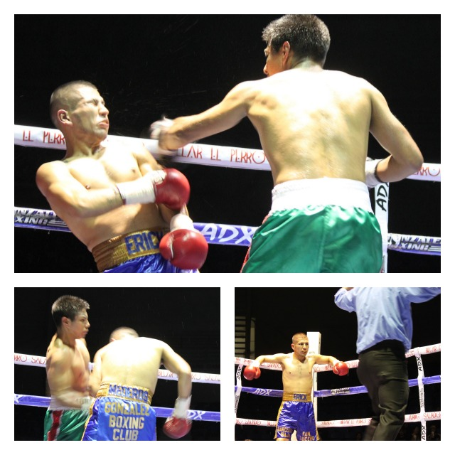 Bout #6 was surely one of the most action packed. (top panel) we see Jose Arteaga (right, green trunks) delivering a solid left hook to the chin of Erick Flores. All photos: Jim Wyatt