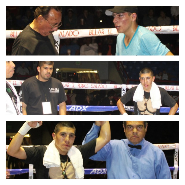 Top two photos show the boxers awaiting the decision for Bout #7. (below) Jose Toribio has his arm raised in victory by referee Juan Jose Ramirez.