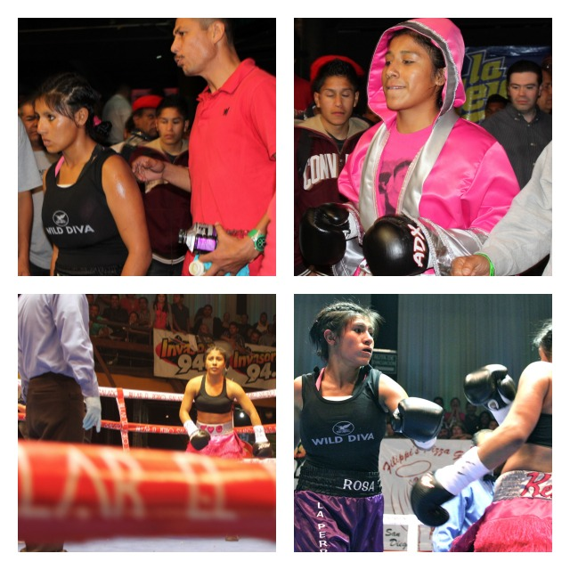 Bout #7 (top to bottom, left to right) Rosa Diaz makes her entrance followed by Kenia Enriquez making her grand entrance.