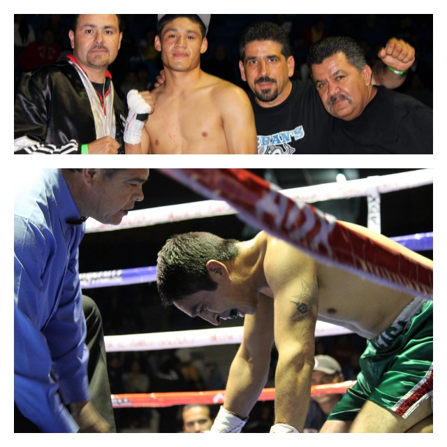 (top photo) Boxer Victor Fonseca poses for a photo with his support staff. (below) Referee Juan Jose Ramirez (l) is shown questioning Eduardo Iniguez if he wants to continue. Photos: Jim Wyatt