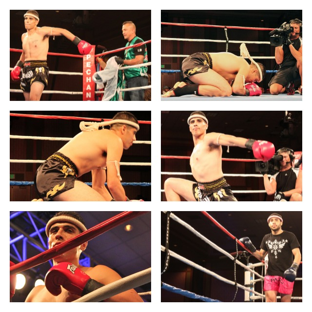 In the top photo collage fighters Josh Aragon (top) and Karl Santiago ( bottom right) go through their regular ritual prior to Saturday's showdown in the ring.