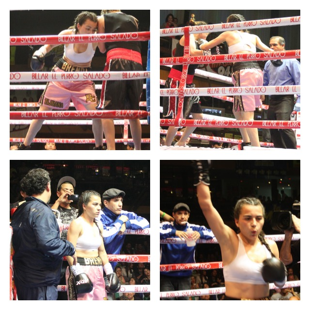 In the following bout, Bout #8, Brenda Flores, also from Tijuana put the very same beating on Monica Murrieta also from Agua Prieta, Sonora, Mexico.