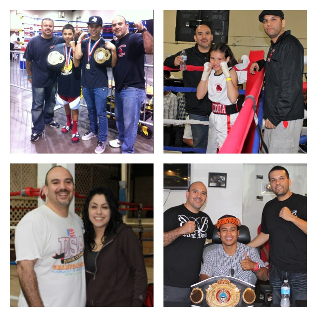 David Gutierrez was also doing great things as a local boxing coach and later part owner in a brand new gym, Bound Boxing in Chula Vista, CA. Photos above have Gutierrez posing with some of his best fighters, in one he is with his son, David Gutierrez Jr.