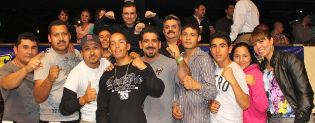 The Victor Ruiz fan club celebrates their hero's victory over Sergio Frias. Photo: Jim Wyatt