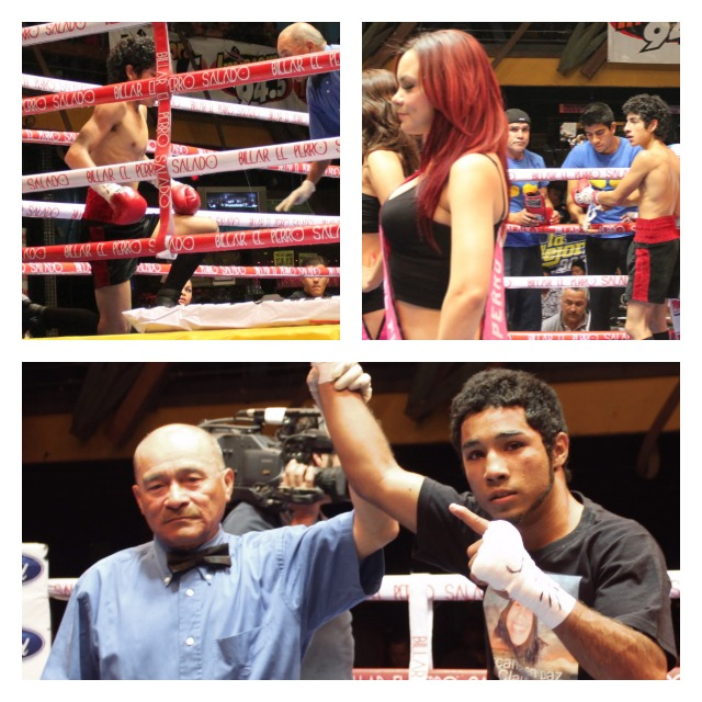 Top photos show Marino Canete and his father. (Bottom photo) Referee Juan Morales Lee raises the arm of the victorious Luis Nery.