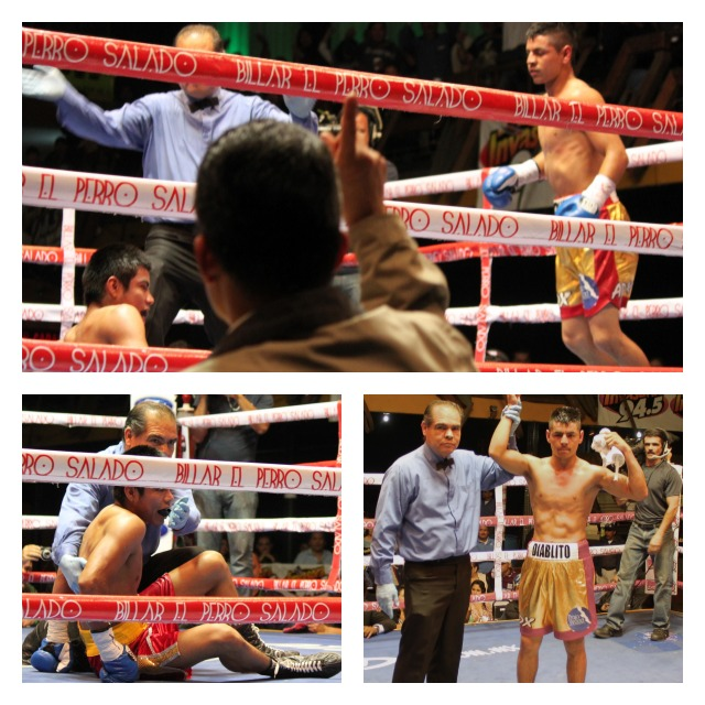 After Jose Escarcega (bottom right) knocked Rosalio Rios off his feet three times in Round #2, referee Juan Jose Ramirez called for the stoppage and declared Escarcega  the winner.