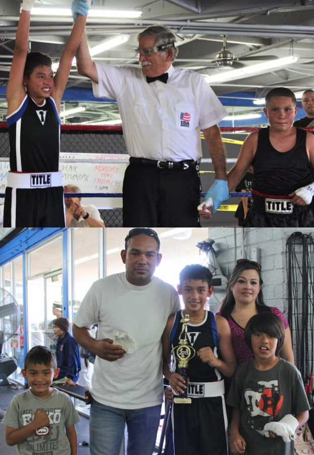 (top photo) At the conclusion of Bout #1, referee Will White raises the arm of the victorious Jaime Galindo (l) after he defeated Emilio Roybal. Below is a photo of the Galindo family celebrating their hero's victory.