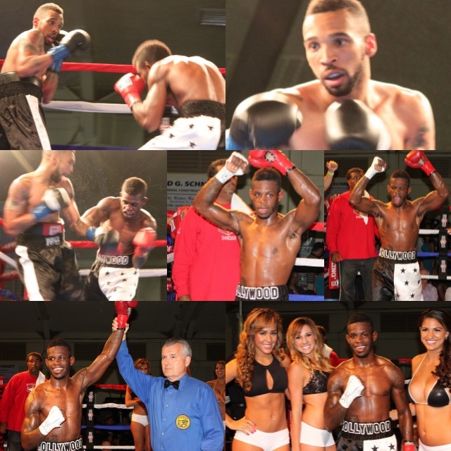 (bottom left) After defeating Andre Ewell, James Taylor has his arm raised in victory by referee Tony Crebs.